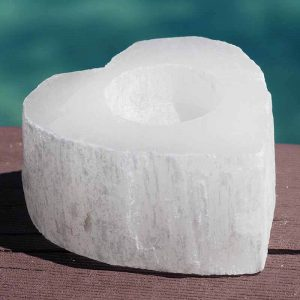 Heart Selenite Tealight Candle Holder