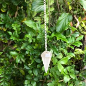 Faceted Selenite Pendulum