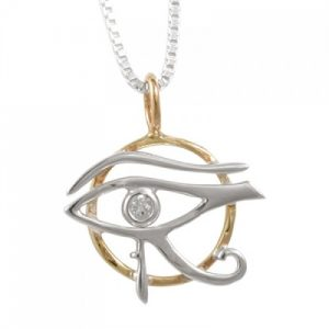 Eye of Horus Pendant Sterling Silver and Bronze - Clear Quartz Crystal