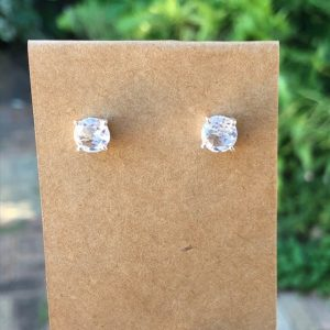 Clear Quartz Stud Earrings Sterling Silver 7mm