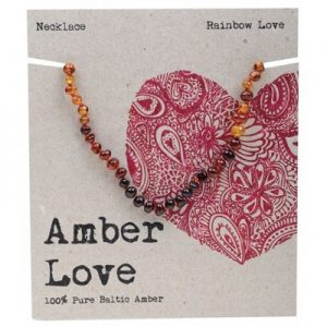 Amber Love Child Necklace Rainbow Love