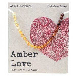 Amber Love Adult Necklace Rainbow Love