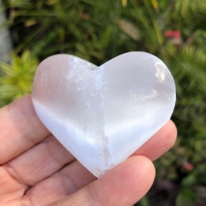Selenite Heart Palm Stone 4-5cm