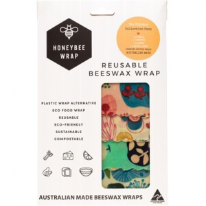 Honeybee Wrap Reusable Beeswax Wraps - Kitchen Collection Pack of 4