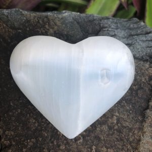 Selenite Heart Palm Stone 7 - 8cm