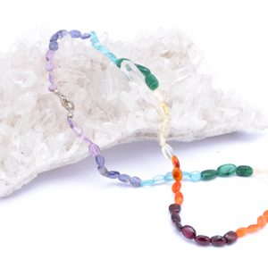 Chakra Oval Crystal Bead Necklace 18″