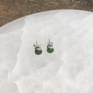 Nephrite Jade Stud Earrings Sterling Silver