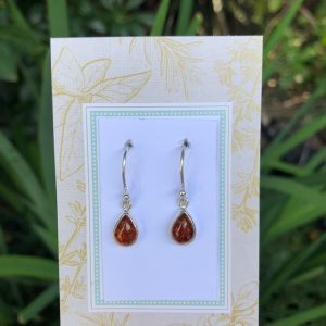 Baltic Amber Earrings Sterling Silver