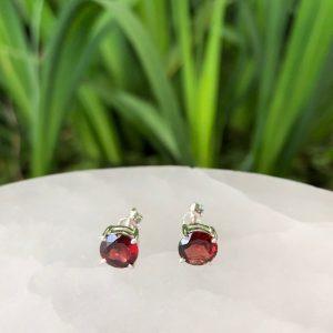 Garnet Stud Earrings Sterling Silver 7mm