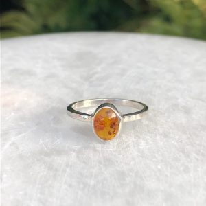Baltic Amber Ring No. R-6179 Sterling Silver