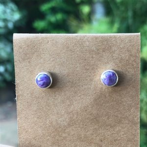 Charoite Stud Earrings RE-252