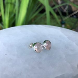 Rose Quartz Stud Earrings Sterling Silver