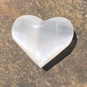 Selenite Heart Palm Stone 6cm