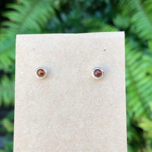Baltic Amber Stud Earrings Sterling Silver
