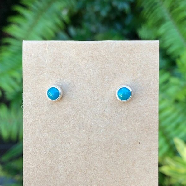 Chrysocolla Stud Earrings Sterling Silver