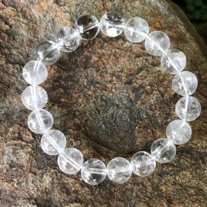 Clear Quartz Crystal Bead Bracelet 10mm