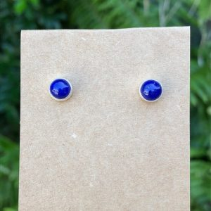 Lapis Lazuli Stud Earrings Sterling Silver