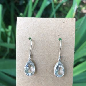 Clear Quartz Pear Shaped Earrings Sterling Silver