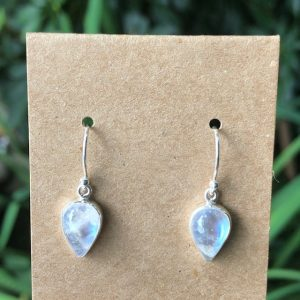Rainbow Moonstone Earrings Sterling Silver E-2718