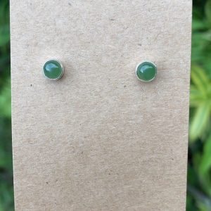 Nephrite Jade Stud Earrings No. E-2695 Sterling Silver