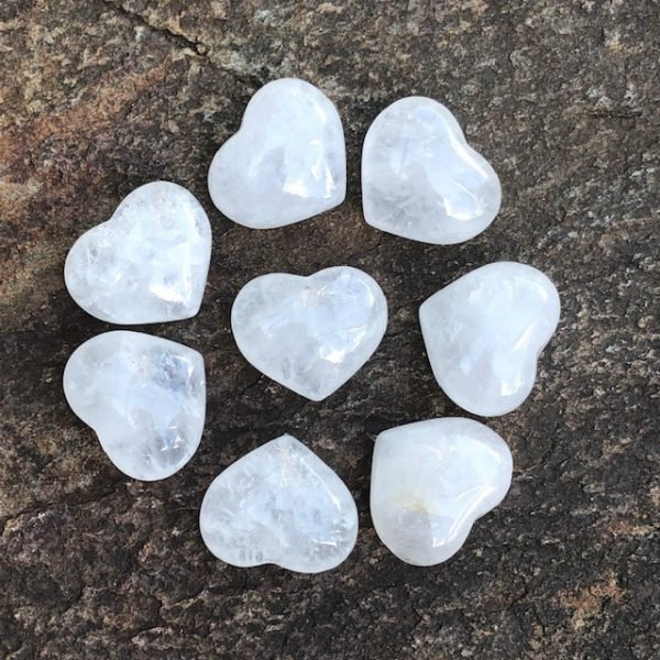 Rock Quartz Heart Palm Stone