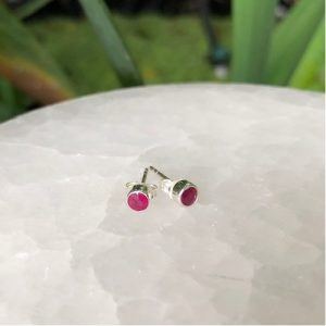 Ruby Studs Sterling Silver