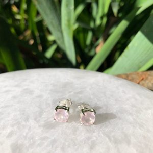 Rose Quartz Stud Earrings No. E-2732 Sterling Silver