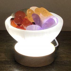 Selenite Bowl Lamp with Mixed Tumbled Crystals