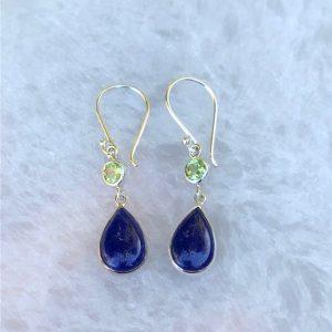 Lapis Lazuli & Peridot Earrings No. E-211 Sterling Silver