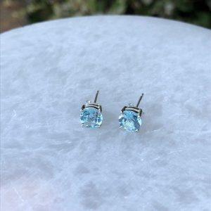 Blue Topaz Stud Earrings Sterling Silver 7mm