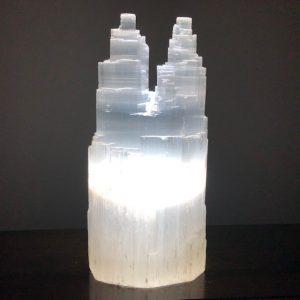 Selenite Twin Tower Lamp 30cm