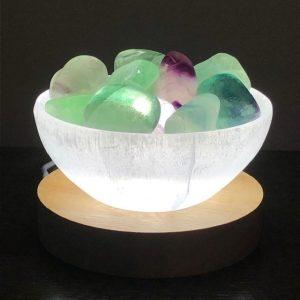 Selenite Bowl Lamp Fluorite
